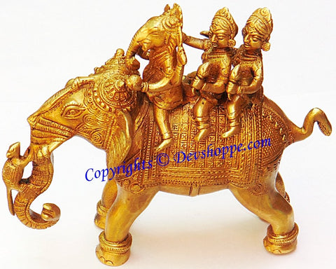 Ganesha Riding Elephant with Two Consorts Riddhi and Siddhi brass idol - Devshoppe - 1
