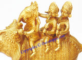 Ganesha Riding Elephant with Two Consorts Riddhi and Siddhi brass idol - Devshoppe
