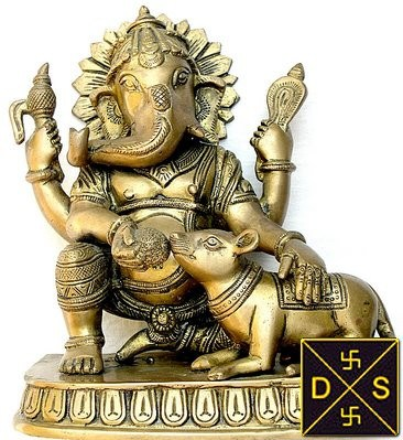 Lord Ganesha feeding his mushaka (mice) - Devshoppe