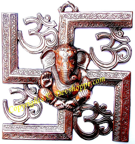 Lord Ganesha, Om and Swastik wall hanging (Large) - Devshoppe