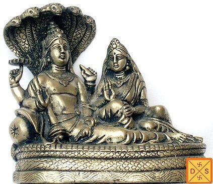 Lord Vishnu and goddess lakshmi idol in mixed metal - Devshoppe