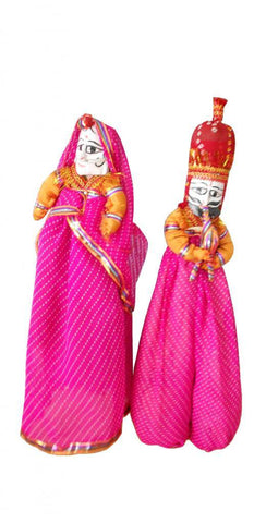 Pair of Rajasthani Indian traditional puppets King Queen cloth Kathputli door hanging - Devshoppe - 1