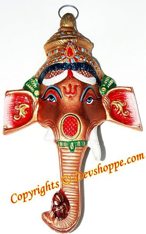 Sri Ganesha face metal wall hanging - Devshoppe - 1