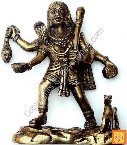Sri Kal (Kaal) Bhairav (Bhairavar) idol in mixed metal - Devshoppe