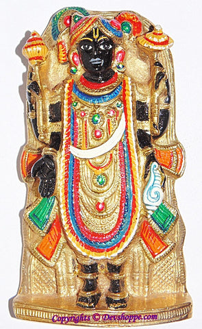 Very Beautiful hand painted Sri Dwarkadhish idol (Dwarkadhish) brass idol - Devshoppe - 1