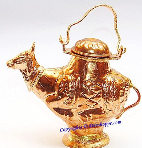 Small Gaumukh (Cow shaped) Kamandal in copper for holy water