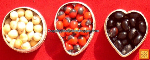 Set of Black, Red and White Chirmi Beads in Silver Boxes -  Very Rare Lucky Charm - Devshoppe