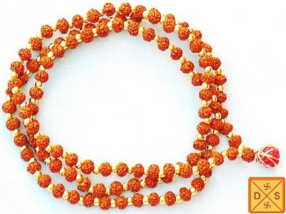 5 mukhi Rudraksha mala of Premium quality with knots between beads 4 mm sized beads - Devshoppe