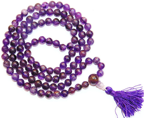 Amethyst Buddhist style mala for peace and getting rid of stress and tension (Dark Purple) - Devshoppe