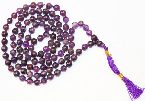 Amethyst mala for peace and getting rid of stress and tension Premium Quality - 7 mm beads - Devshoppe
