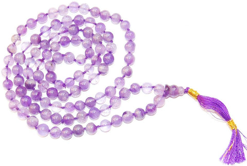 Amethyst mala for peace ( light purple )  7 mm beads - Premium Quality - Devshoppe