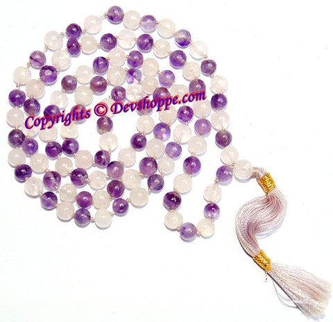 Amethyst Rose Quartz combination mala of premium quality beads - Devshoppe