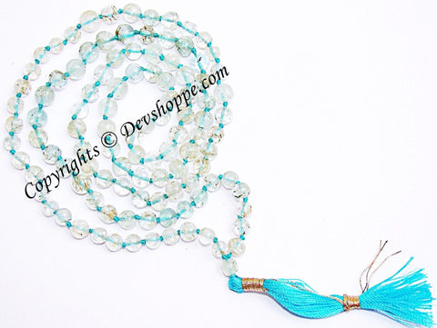 Aquamarine mala for courage,peace and purification - Devshoppe