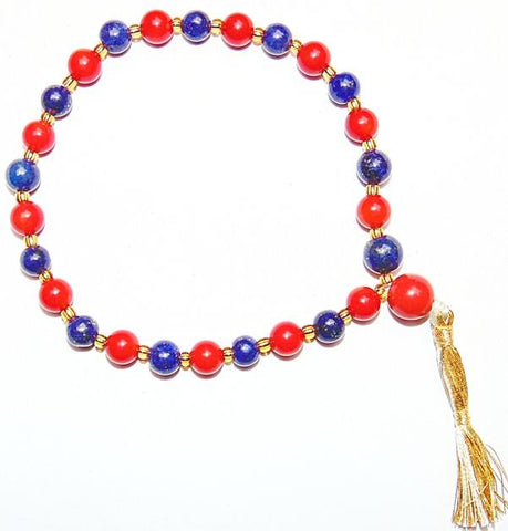 Beautiful Red agate and Lapiz lazuli (Lapis) combination beads wrist mala 27+1 beads - Devshoppe
