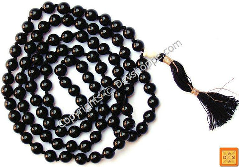 Black Onyx mala for improving concentration , devotion and ending marital disputes - Devshoppe