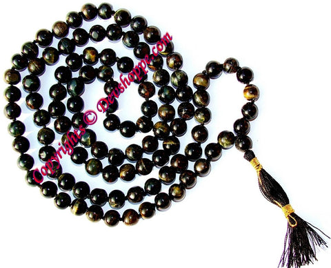 Black Tiger eye mala - Very Rare and Powerful - Devshoppe