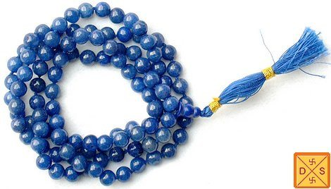 Blue hakik (agate) mala for healing and goodluck - Devshoppe