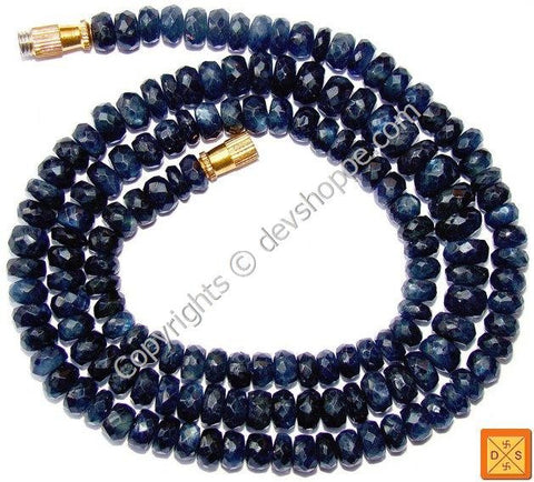 Blue Sapphire ( Neelam) faceted beads mala of Superfine quality - Devshoppe