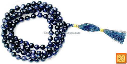 Blue Sunstone mala for good fortune and prosperity ( Ordinary Quality ) - Devshoppe