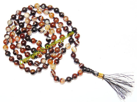 Bulls eye Agate (Hakik / akik) mala to get rid of excessive fear - Devshoppe