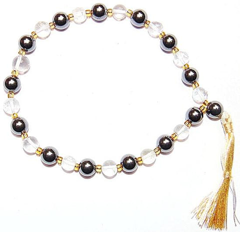 Beautiful Hematite and Crystal quartz combination wrist mala 27+1 beads - Devshoppe