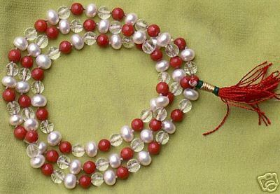 Coral , Pearl and Crystal beads combination mala - Devshoppe
