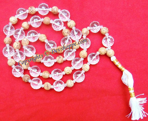 Crystal (Sphatik) and Bodhi seeds combination mala - Devshoppe