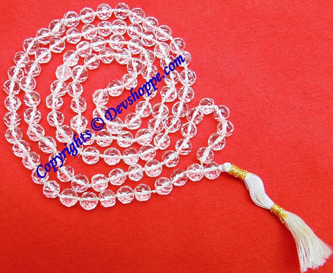 High grade Crystal (Sphatik) mala in Diamond cutting - Devshoppe - 1