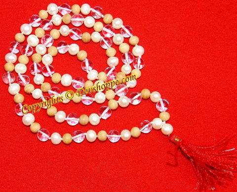 Sandalwood ,Pearl and Crystal combination mala for high blood pressure patients - Devshoppe - 1