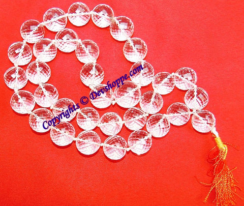 Sphatik Kantha / Quartz Rosary - Biggest Size - Super Diamond Cutting - Gem Quality - Devshoppe