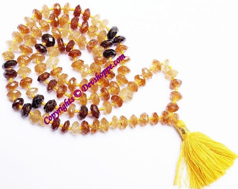 Gomed mala (Hessonite) 108+1 beads for success and getting rid of enemies - Devshoppe