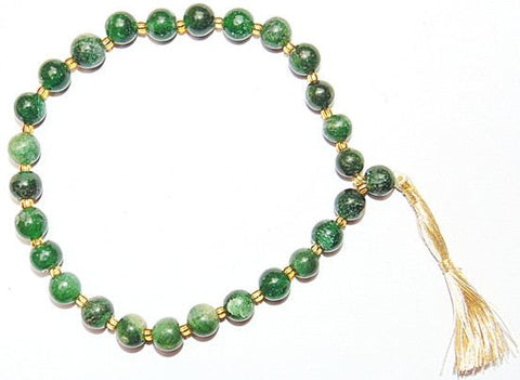 Green Hakik wrist mala of 27+1 beads - Devshoppe