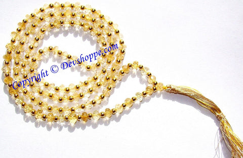 High grade Citrine mala faceted beads - Devshoppe
