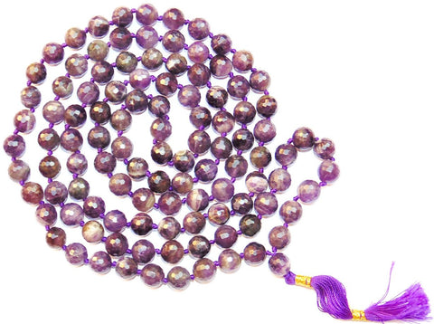 High quality Amethyst mala made from Diamond cutting dark purple beads - 10 mm - Devshoppe
