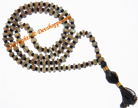 Labradorite faceted beads mala - Devshoppe