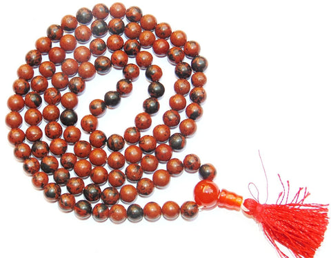 Mahogany Obsidian Buddhist Style mala to get rid of Negative energies - Devshoppe