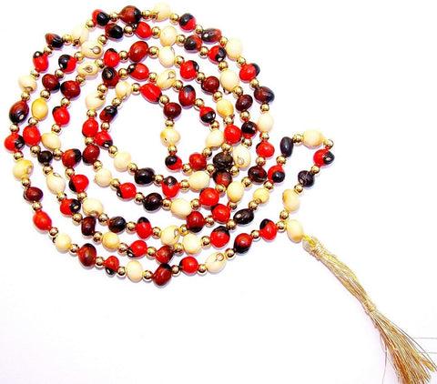 Mixed Chirmi beads mala - Made from White , Black and red Chirmi beads - Devshoppe