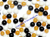 Mixed hakik (agate) mala having white,yellow and black hakik beads