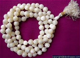 Precious Mother of Pearl mala to get protection from negative influence - Devshoppe