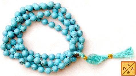 Reconstituted Turquoise (firoza) mala for positive vibrations, intuition and wisdom - Devshoppe