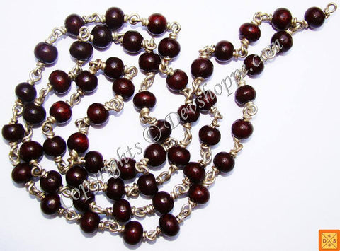 Red Sandalwood  ( Lal Chandan) mala in White metal 54 +1 beads - Devshoppe
