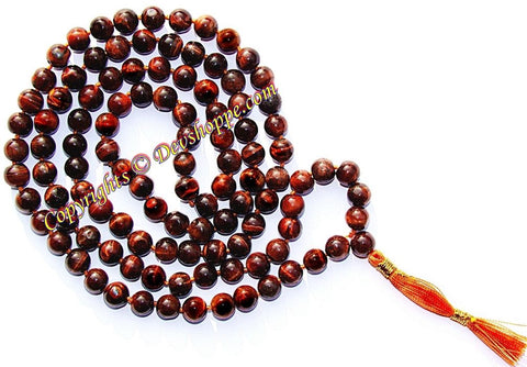 Red Tiger eye mala - Money charm - Devshoppe