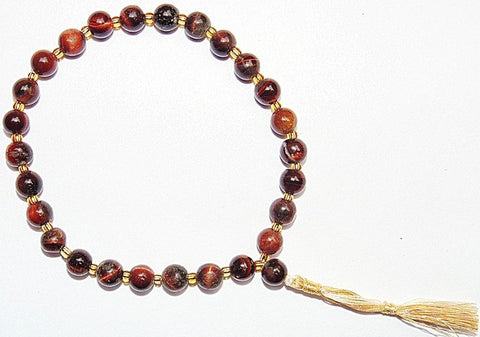 Red tiger eye wrist mala of 27+1 beads - Devshoppe