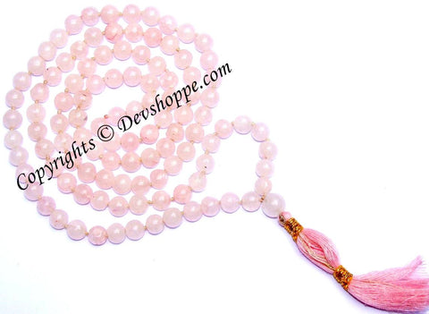 Rose Quartz mala for love,happiness and harmony in relations - Devshoppe