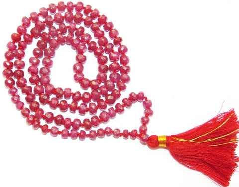 Ruby mala 108+1 beads for Surya - Devshoppe - 1