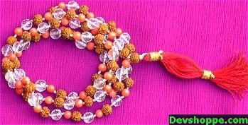 Coral, Sphatik and Rudraksha beads combination mala - Devshoppe