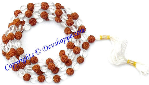 Rudraksha and Crystal combinaton mala (diamond cutting) of 108+1 beads - Devshoppe