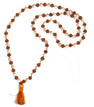 Rudraksha Crystal (round beads) combination mala of 108+1 beads - Devshoppe