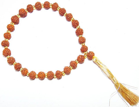 Rudraksha 7 mm sized beads Wrist mala 27+ 1 beads - Devshoppe