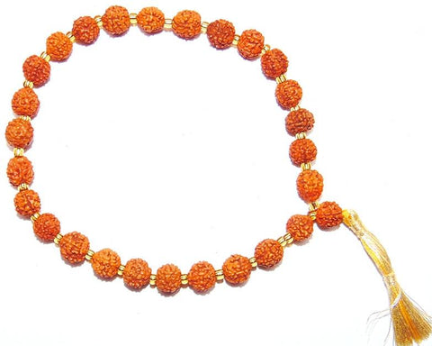 Rudraksha 9 mm sized beads Wrist mala 27+ 1 beads - Devshoppe